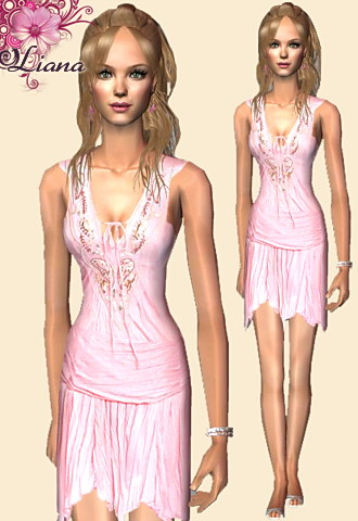 light pink embroidered dress