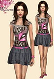 Lips grey t-shirt featuring a ballerina style mini skirt and a sweet pink belt